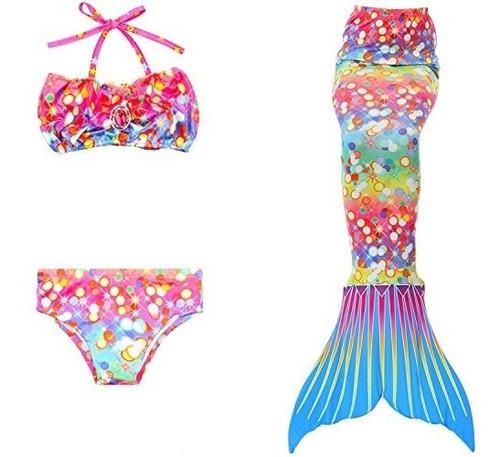 banador 3 piezas banador para nina bikini de cola de sirena