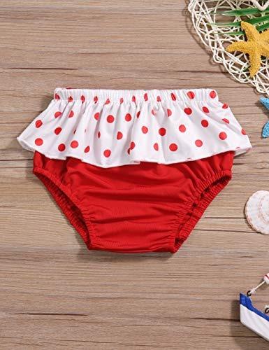 1129ce0a1 Bañador Para Niña Con Falda De Lunares Rojos 2 Piezas