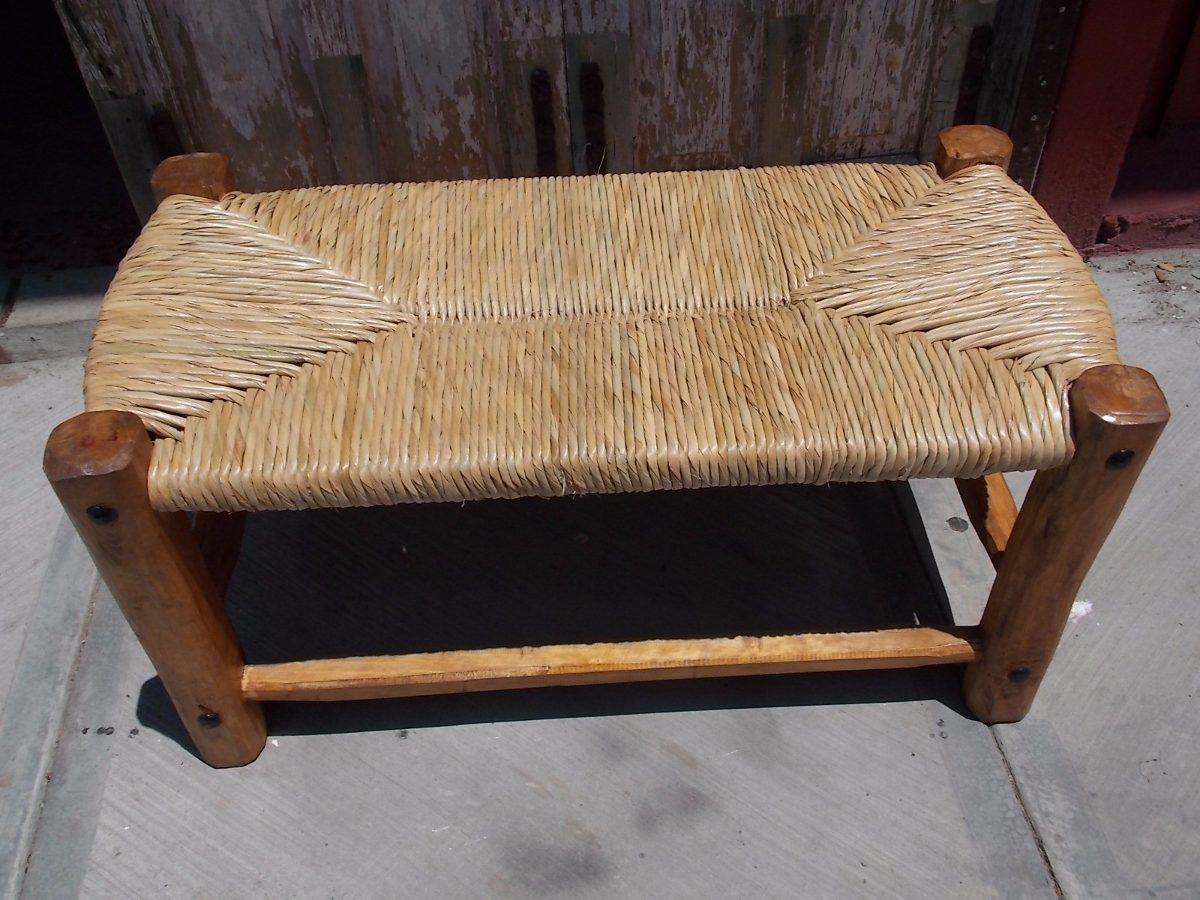 Banca banco artesanal de madera y forja tejida con tule 1 en mercado libre - Bancos de forja para exterior ...