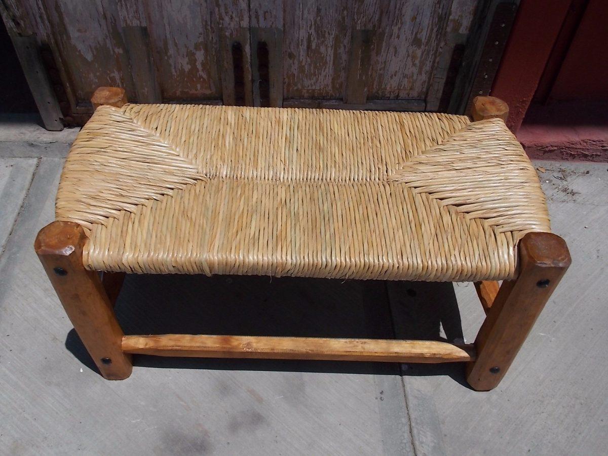 Banca banco artesanal de madera y forja tejida con tule - Bancos de forja para exterior ...