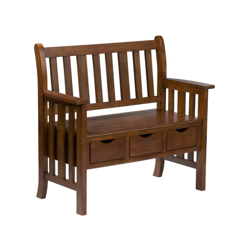 banca clásica en madera inc 3-drawer oak country bench