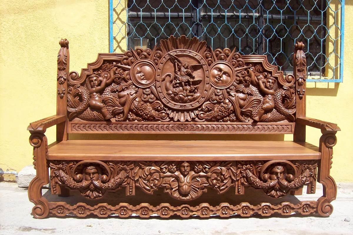 Banca De Madera Tallada A Mano Precio De Fabricante  # Muebles Tallados En Madera
