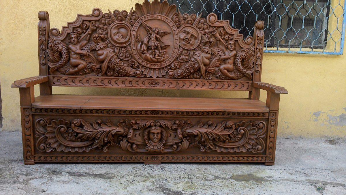 Banca de madera tallada a mano precio de fabricante for Modelar muebles