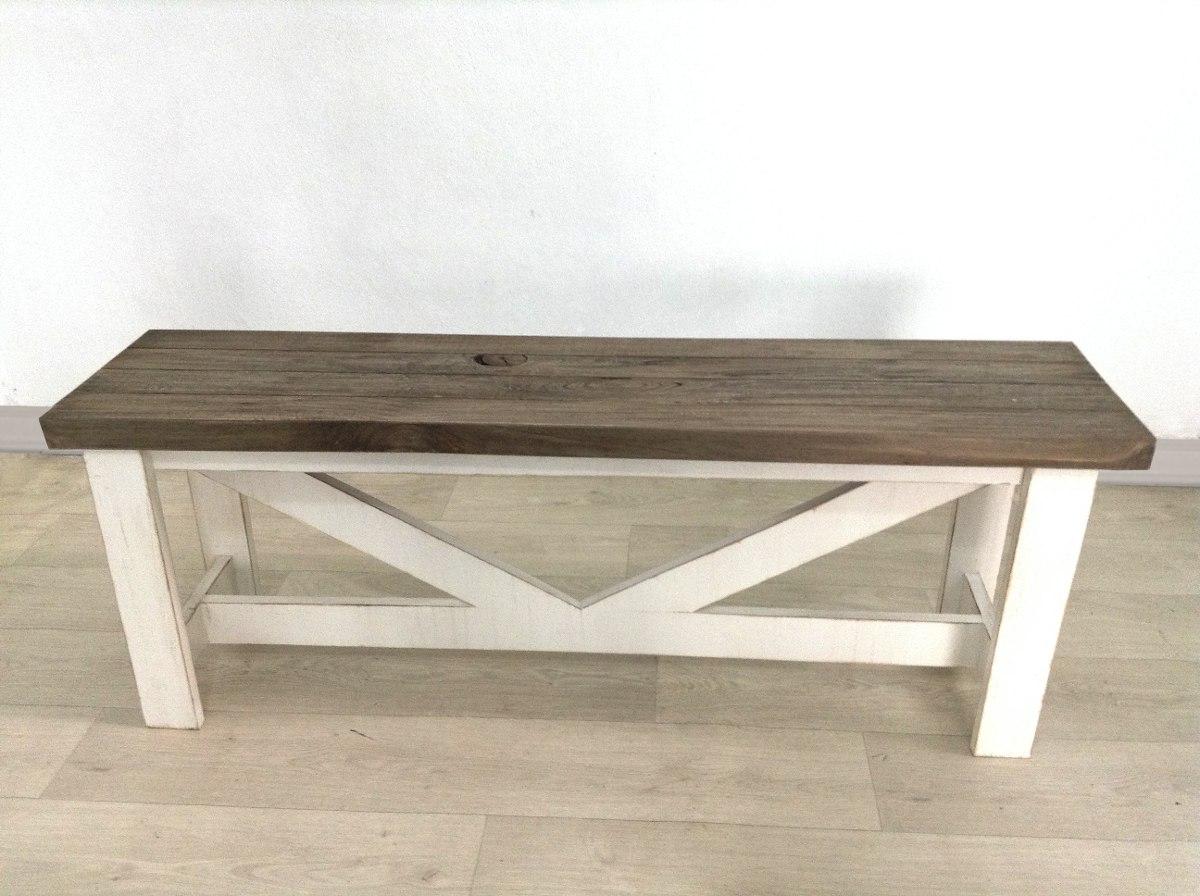 Banca de madera vintage asiento de madera avejentada comedor 2 en mercado libre - Bancas de madera para comedor ...