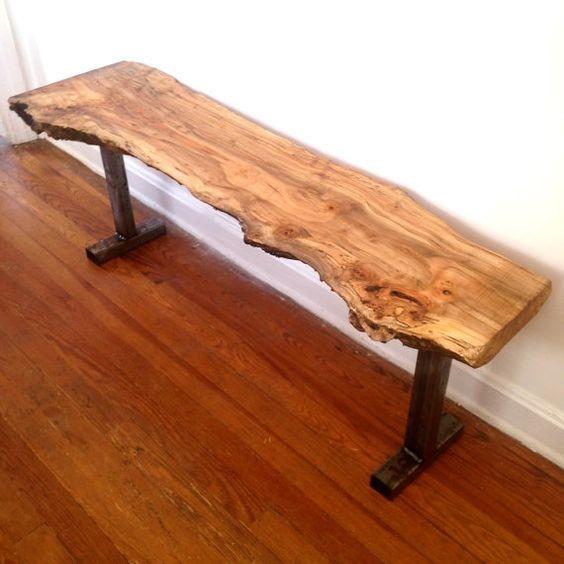 Reclaimed Live Edge Maple Coffee Table Bench Industrial: Banca De Madera Y Hierro. Banca Rustica. Vintage