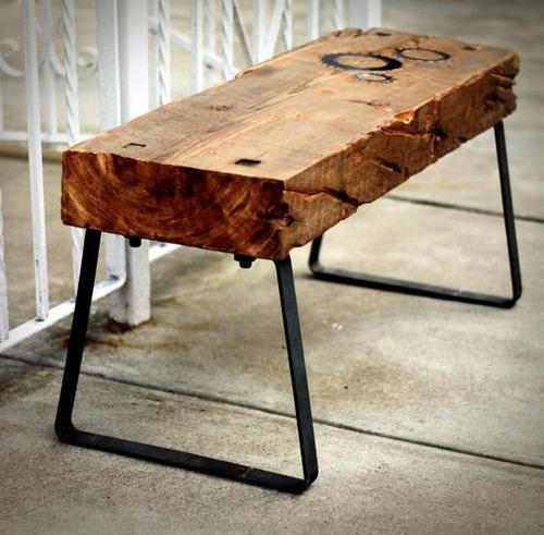 banca de tablon de madera exotica con base de hierro