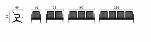 banca karla de 4 plazas tapizada en tela color negro
