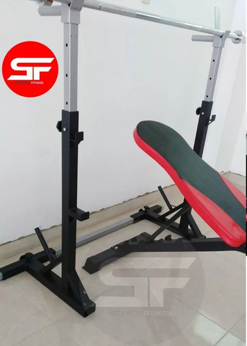 banca libre pecho xt + rack squat sentadillas + pesas barras