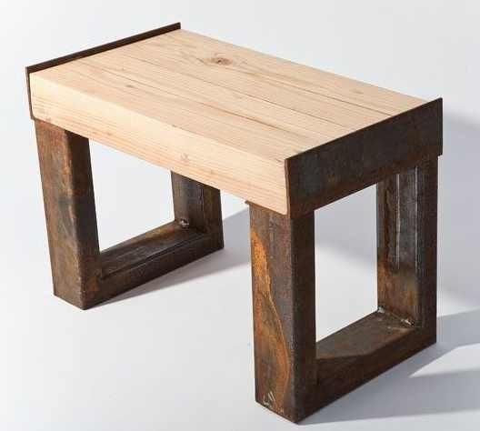 Banca madera metal jardin decoracion mesa comoda 1 200 for Bancas de jardin de madera