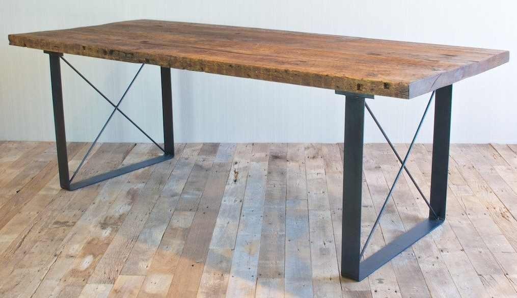Banca madera metal jardin parque decoracion mesa comoda - Mesa de madera para jardin ...
