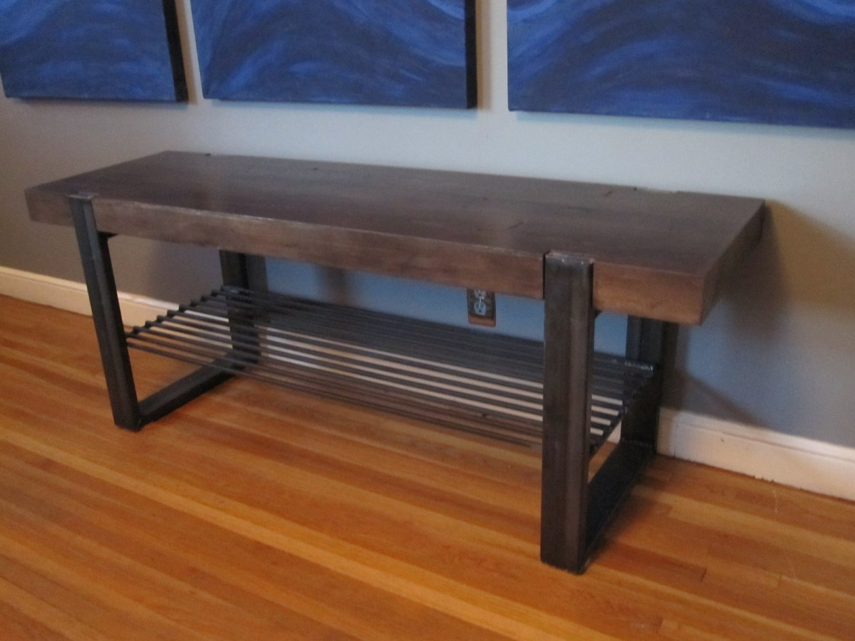 Banca madera metal jardin parque decoracion mesa comoda for Mesas de jardin precios