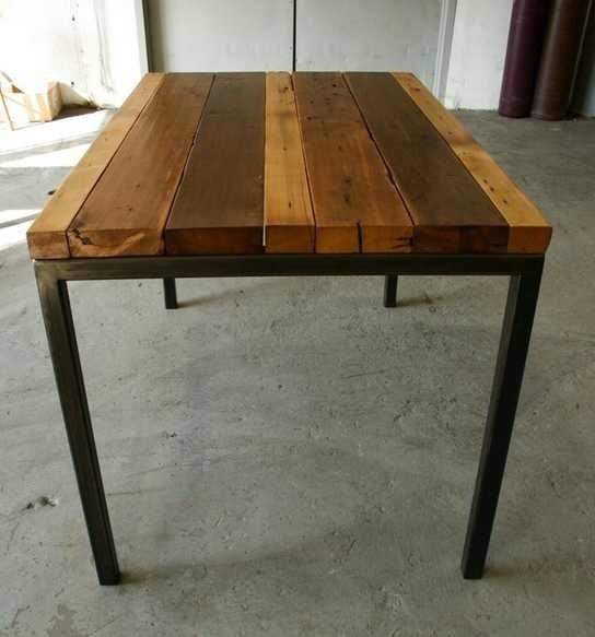 Banca madera metal jardin parque decoracion mesa comoda for Decoracion mesas de jardin