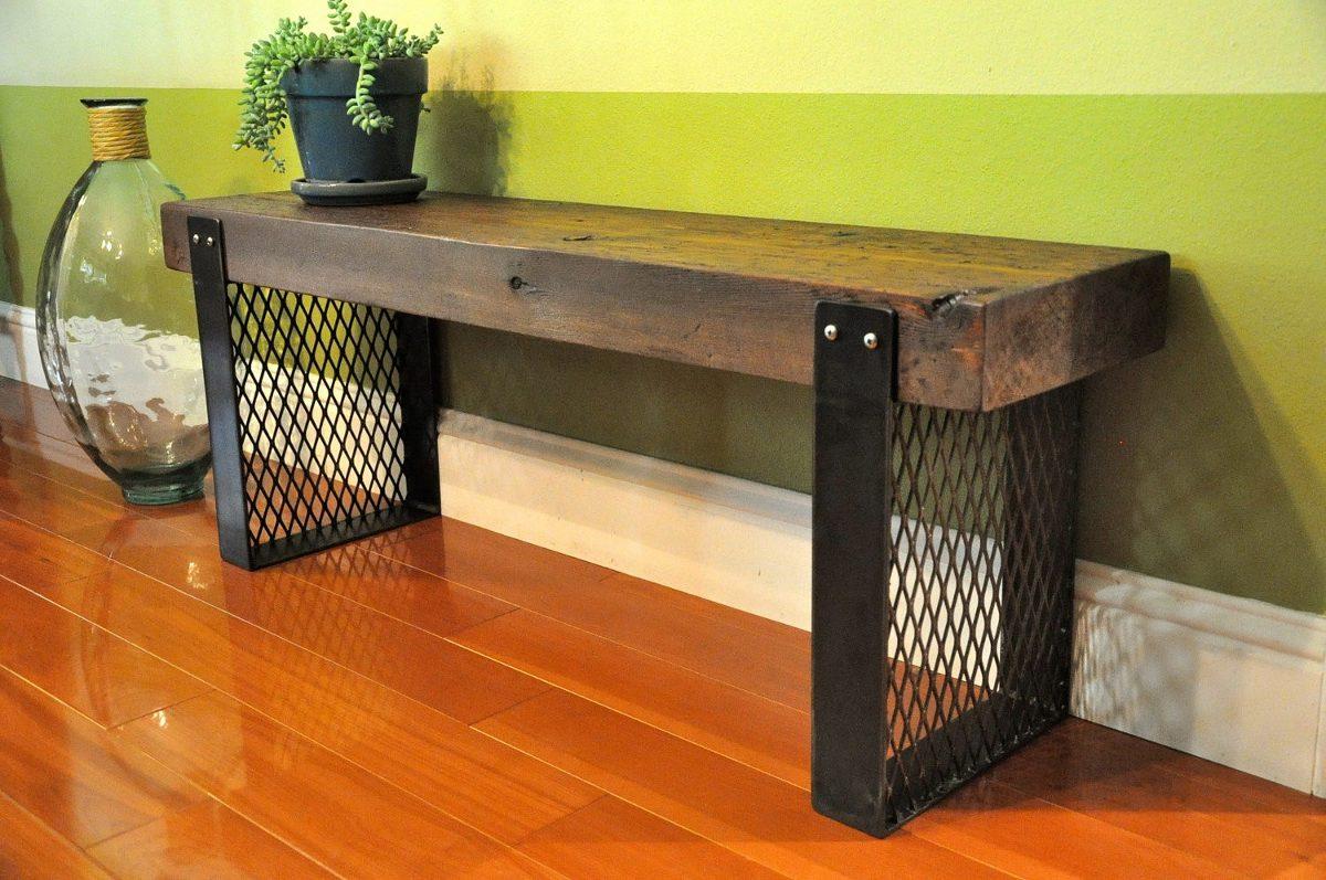 Banca madera metal jardin parque decoracion mesa comoda for Bancas de madera para jardin