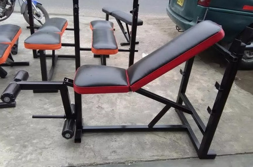 banca p/ pecho+ejercitador piernas+mancuernas+barra+ 20kg