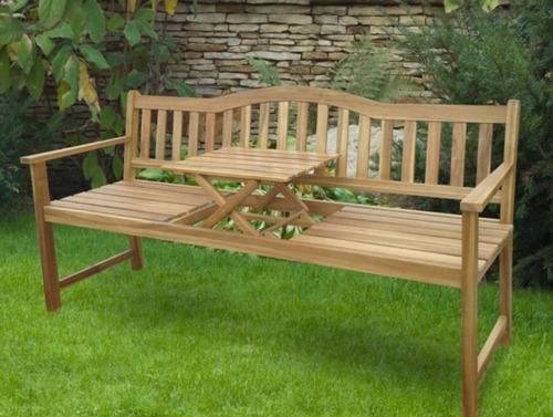 Banca de madera para jardin con mesita de servicio for Bancas de jardin de madera