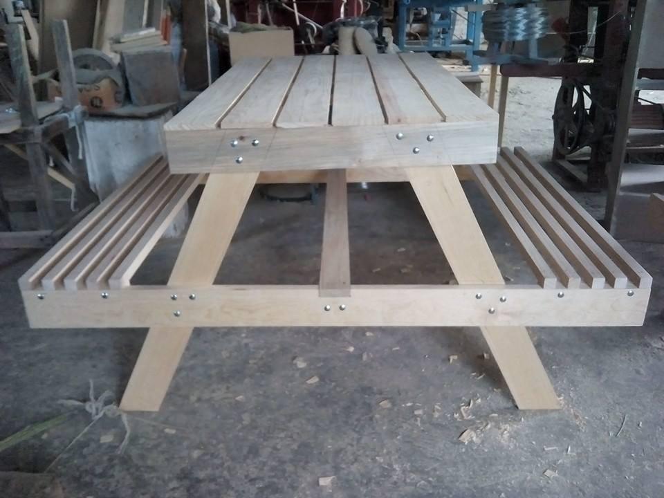 Mesa banca para picnic mesa campestre mesa para jardin for Sombrillas de madera para jardin