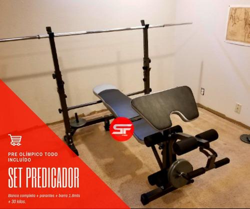 banca predicador pecho libre+ piernas+ barra+ pesas gimnasio