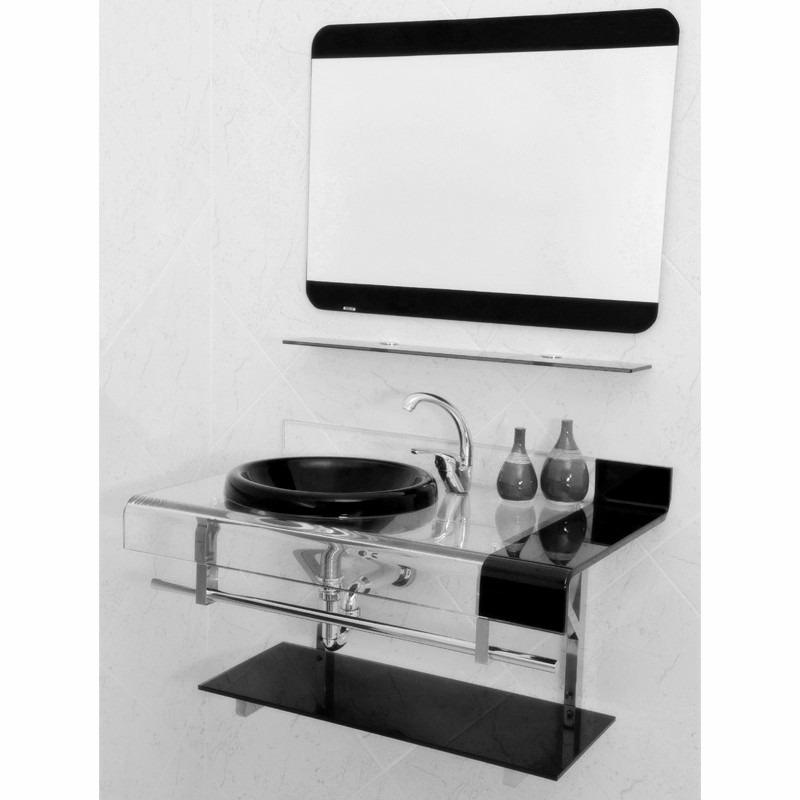 Kit Bancada Banheiro Vidro : Bancada banheiro vidro espelho estilo chopin