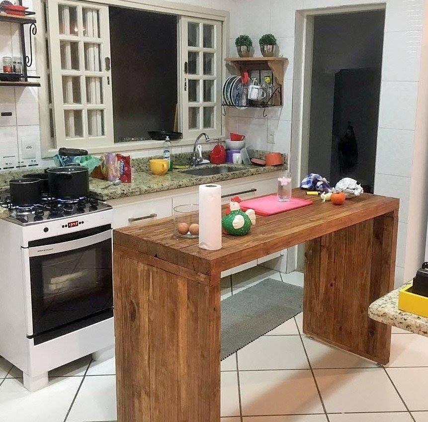 Bancada De Cozinha Madeira Rústica  R$ 850,00 em Mercado Livre # Bancada De Pia De Cozinha Rustica