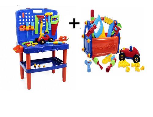 bancada de ferramentas infantil + caixinha de maleta