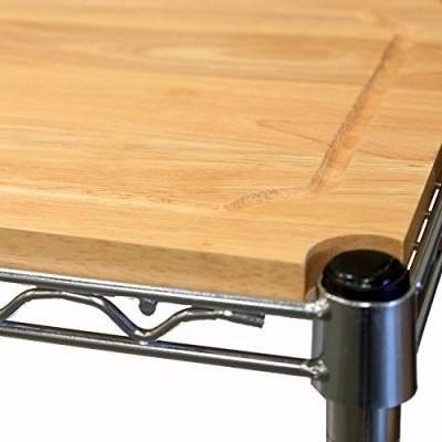 bancada de trabalho c/ 4 prateleiras tampo de madeira em aço