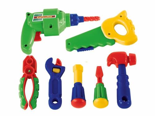 bancada de trabalho infantil com ferramentas calesita