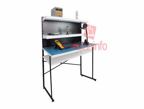 bancada de trabalho p/ eletrônica 4 prateleiras + manta c/nf