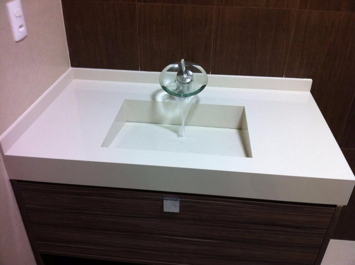 Bancada Em Porcelanato Com Cuba Esculpida  R$ 1350,00 em Mercado Livre -> Cuba Banheiro Esculpida