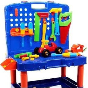 bancada ferramentas maleta infantil didático poliplac 45 pcs
