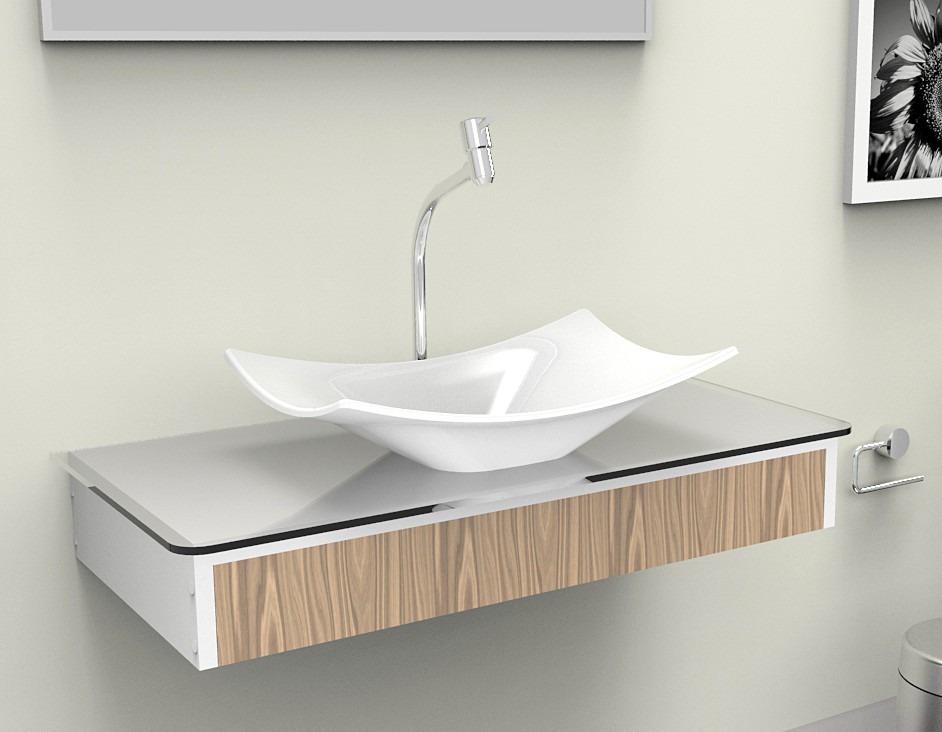 Bancada gabinete lavabo banheiro madri 80 r 429 90 for Gabinete para lavabo