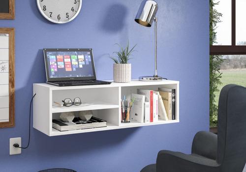 bancada mesa de estudos escrivaninha suspensa branca
