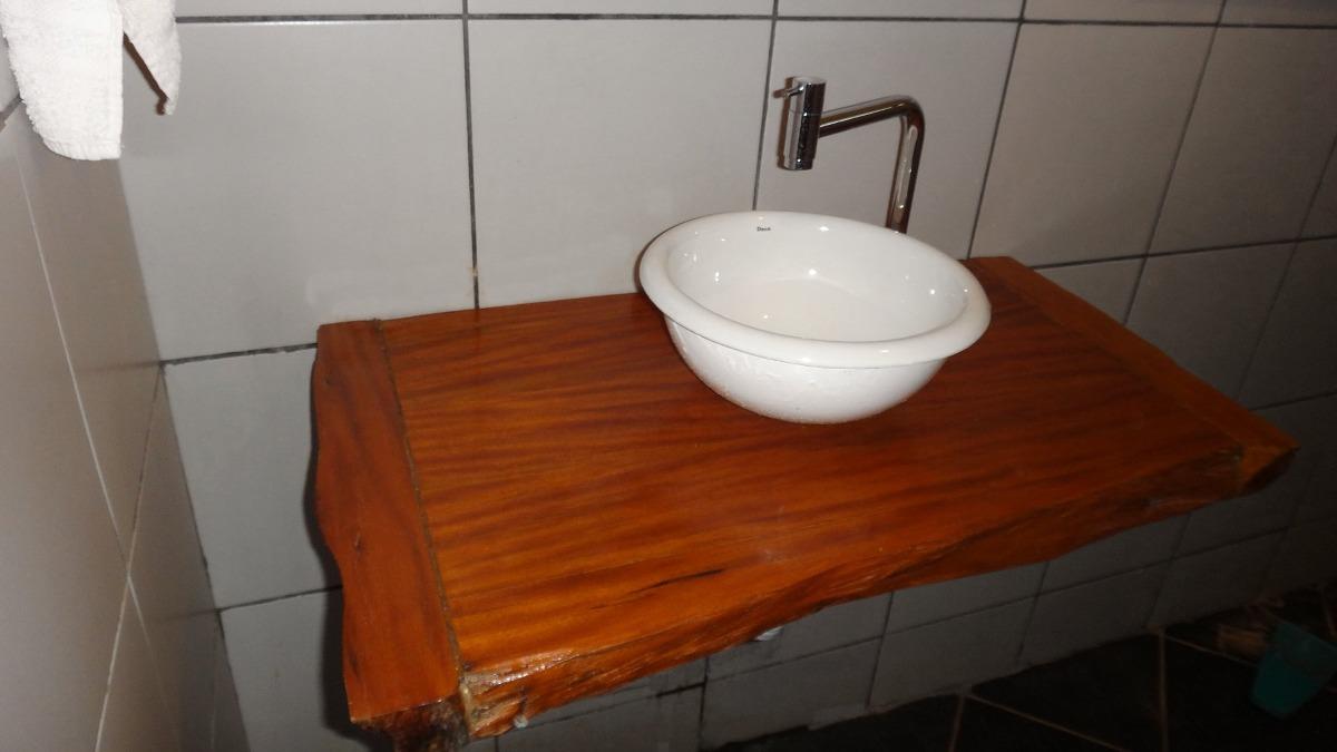 Bancada Para Banheiro Ou Lavabo Em Madeira Peroba Rosa  R$ 300,00 em Mercado -> Cuba Para Banheiro De Madeira