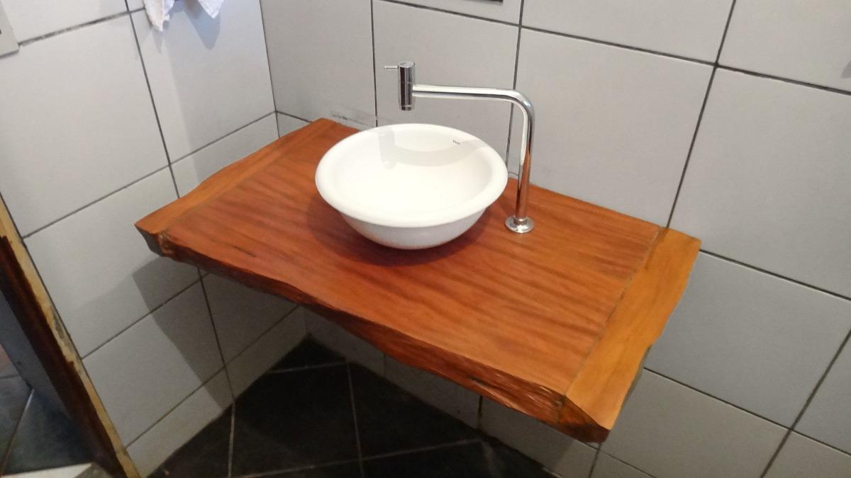Bancada Para Banheiro Ou Lavabo Em Madeira Peroba Rosa  R$ 300,00 em Mercado -> Bancada De Pia De Banheiro Em Madeira