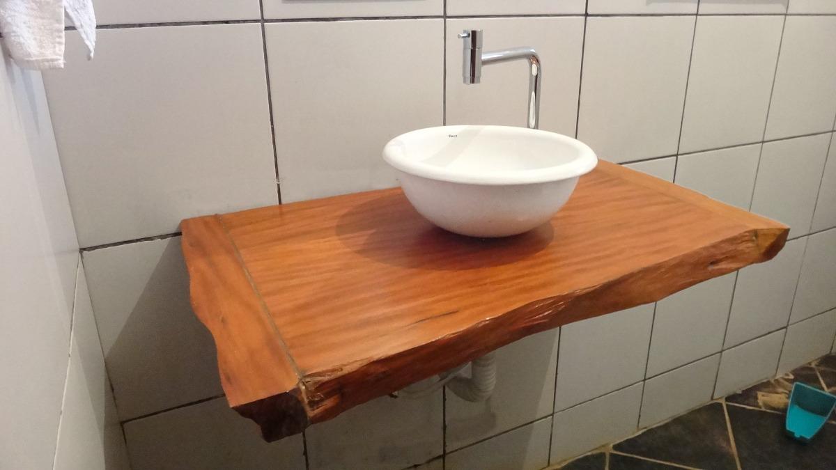 Bancada Para Banheiro Ou Lavabo Em Madeira Peroba Rosa  R$ 300,00 em Mercado -> Armario Para Banheiro De Madeira Rustica