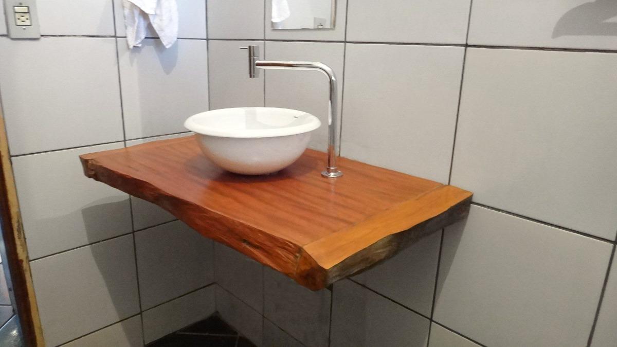 Bancada Para Banheiro Ou Lavabo Em Madeira Peroba Rosa  R$ 300,00 em Merca -> Como Instalar Pia De Banheiro Com Coluna Suspensa