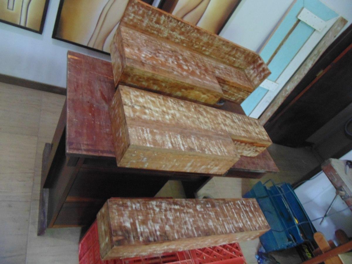 Bancada Pia Lavabo Em Madeira De Demolição Banheiro Cuba  R$ 189,90 em Merca -> Bancada De Pia De Banheiro Em Madeira