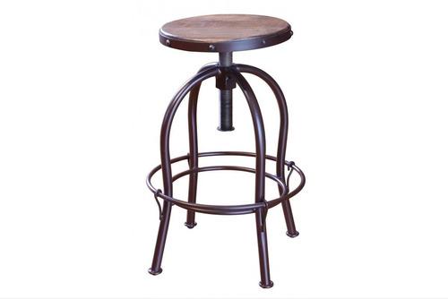 banco ajustable forja. asiento giratorio madera.dess muebles