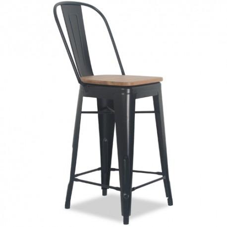 banco alto o taburete de diseño replica tolix con madera