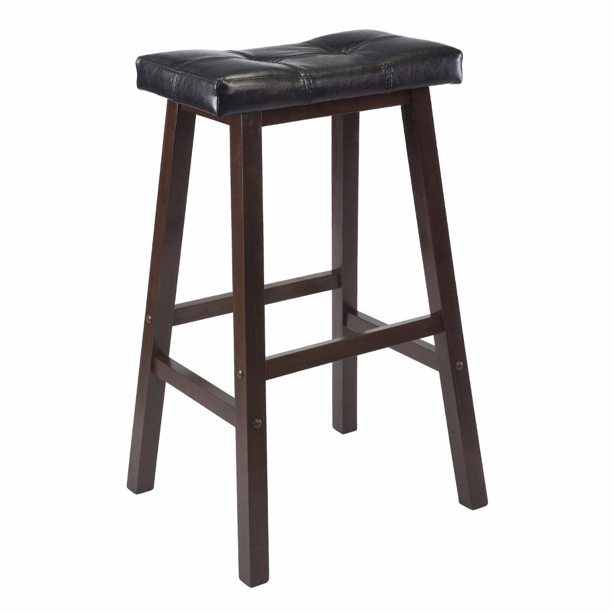 Banco alto silla bar cafe barra madera cuero 61 cm for Bancos de bar de madera