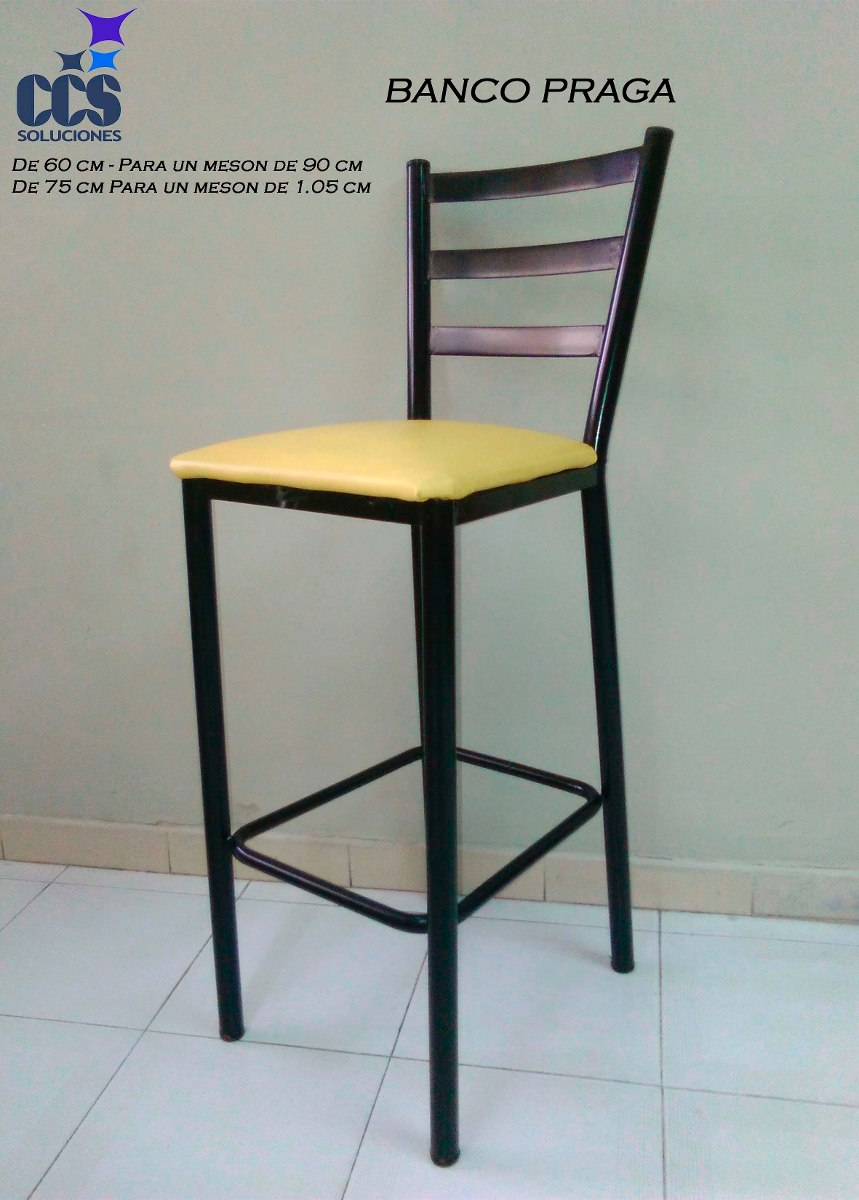 Banco alto silla con asiento semicuero para mesa alta for Pisos en silla de bancos