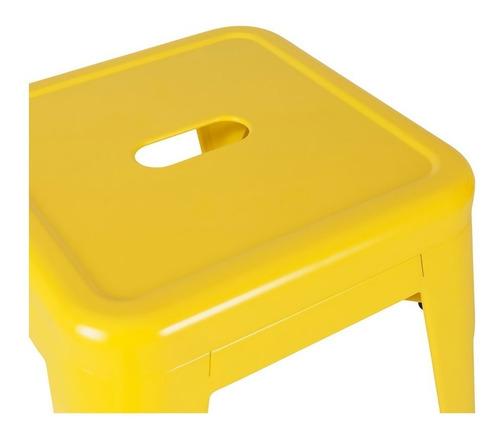 banco alto tipo tolix de acero color amarillo 66cm