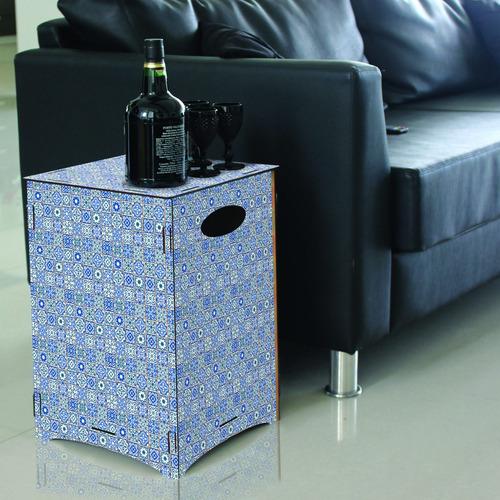 banco banqueta mesa baja silla puff pouf azulejos azules