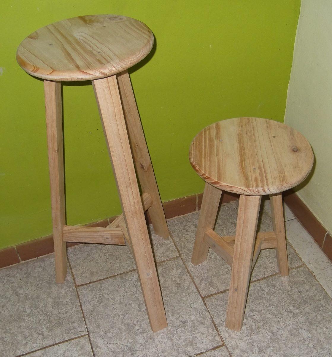Banco banquito madera de pino cocina barra bar bs - Madera de pino ...