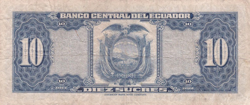 banco central! 10 sucres 19 junio 1956 serie ic