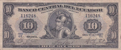 banco central! 10 sucres 21 septiembre 1953 serie gx