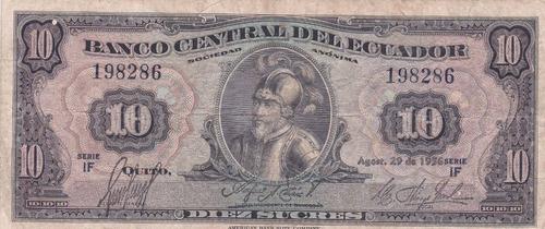 banco central! 10 sucres 29 agosto 1956 serie if- punto