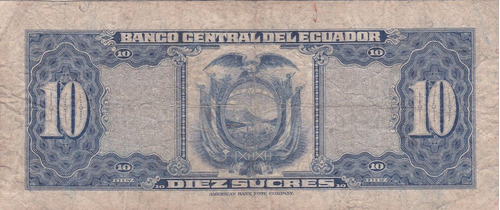 banco central! 10 sucres 6 junio 1958 serie ij - punto