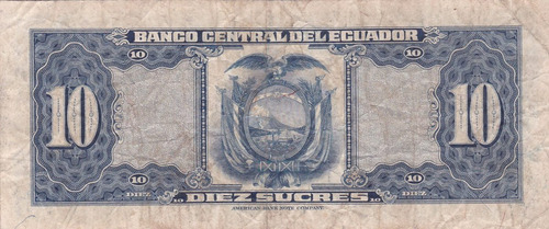 banco central! 10 sucres 7 abril 1960 serie iq