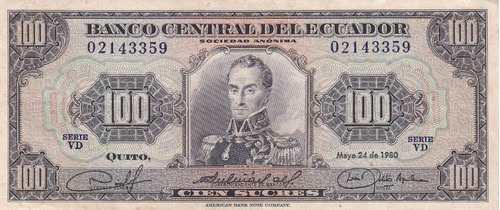 banco central! 100 sucres 24 mayo 1980 serie vd