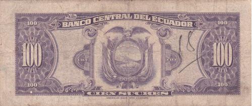 banco central! 100 sucres 28 julio 1960 serie tg - con punto